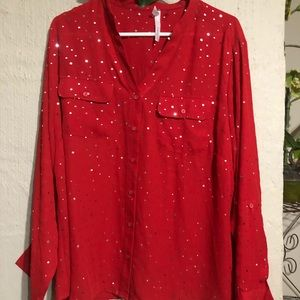 MY Collection Red with silver sparkle button down